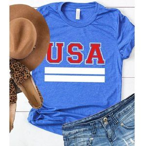 """NWT Patriotic Red White Blue """"USA"""" Graphic Tee"""